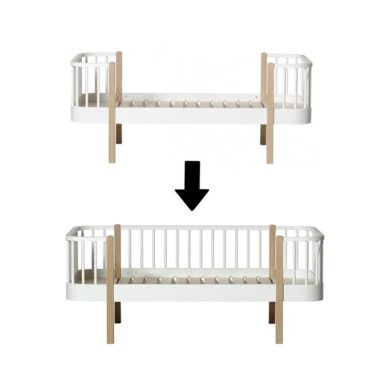 Oliver Furniture <br/> Umbauset Wood <br/> Juniorbett zum Junior Bettsofa <br/> Weiss/Eiche