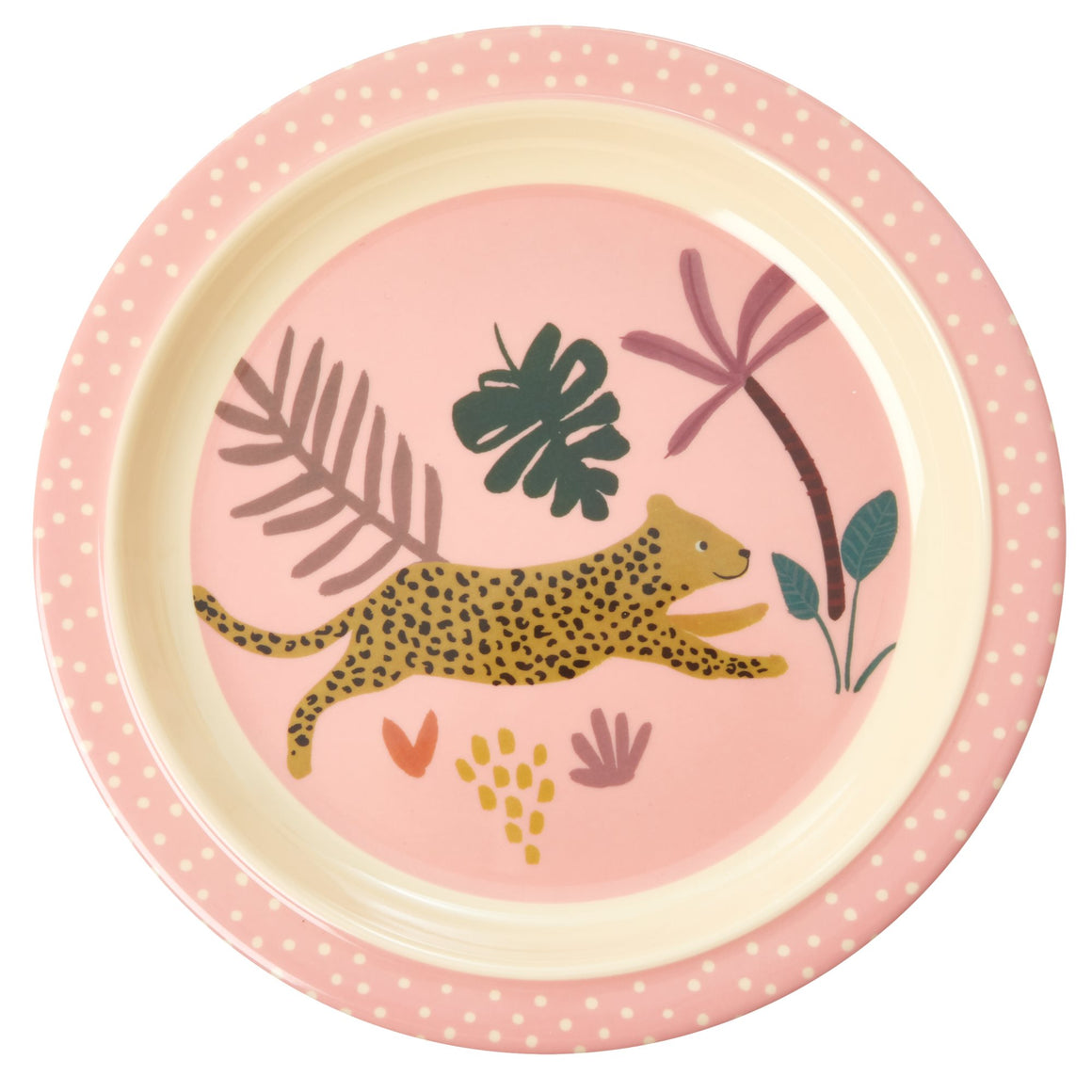 "Rice <br/> Melamin Kinderteller ""Jungle Animals""<br/> Pink"