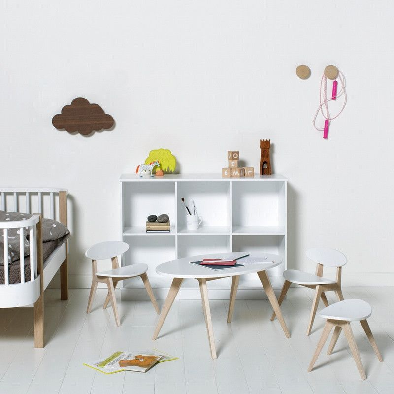 Oliver Furniture <br/> Hocker PingPong Wood <br/> Weiss/Eiche,Stühle, Oliver Furniture - SNOWFLAKE kindermöbel concept store