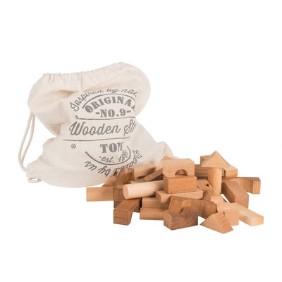 Wooden Story 100 wooden blocks in a sack Nature, wooden toys, Wooden Story - SNOWFLAKE children's furniture concept store