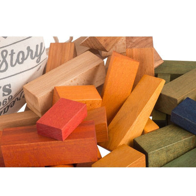 Wooden Story 50 XL wooden blocks in a sack Rainbow, wooden toys, Wooden Story - SNOWFLAKE children's furniture concept store