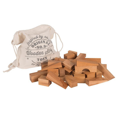 Wooden Story 50 XL wooden blocks in a sack Nature, wooden toys, Wooden Story - SNOWFLAKE children's furniture concept store