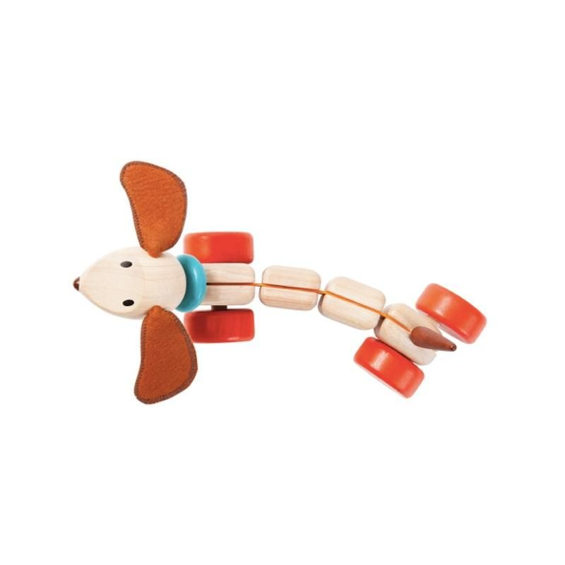 PlanToys Pull-along puppy brown