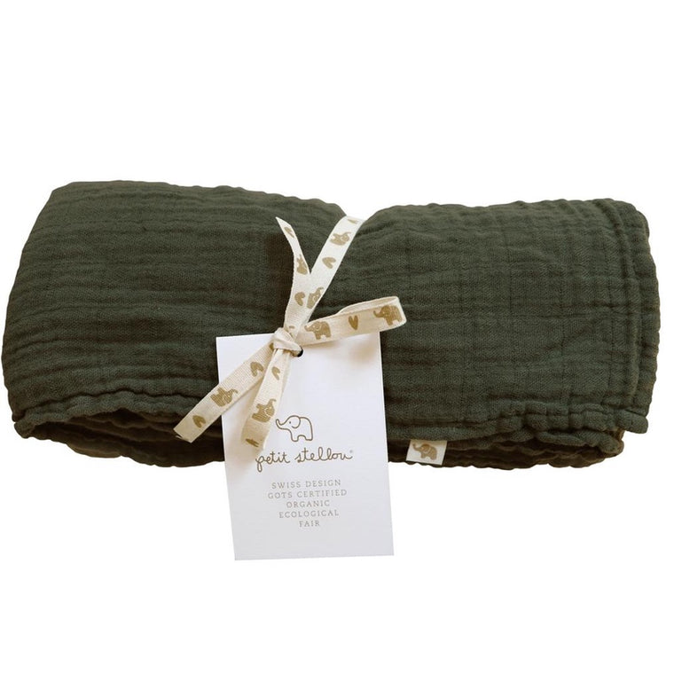 Petit Stellou <br/> Mulltuch Nooshi Blanket <br/> Chive