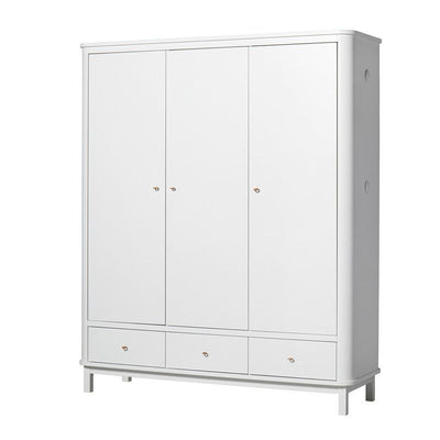 Oliver Furniture Wardrobe with 3 doors Wood White, cupboards, Oliver Furniture - SNOWFLAKE children's furniture concept store