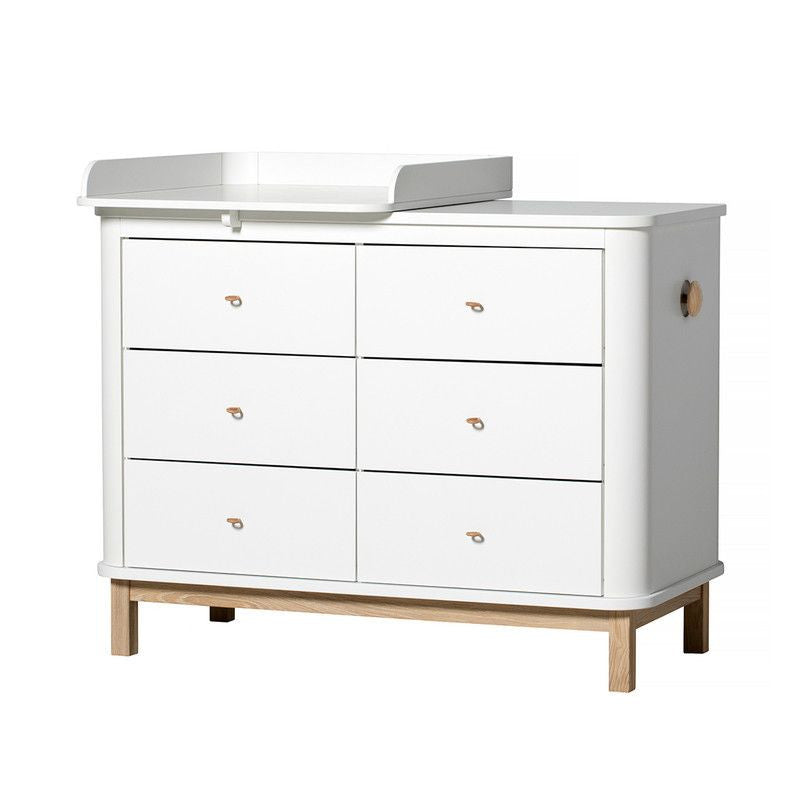 Oliver Furniture <br/> Wickelkommode 6 Schubladen mit Wickelplatte klein Wood <br/> Weiss/Eiche,Wickelkommoden, Oliver Furniture - SNOWFLAKE kindermöbel concept store
