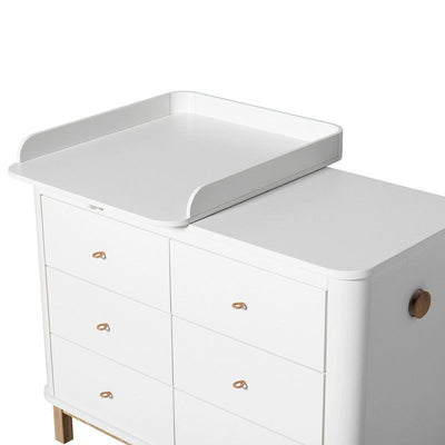 Oliver Furniture Changing table 6 drawers with changing table small Wood White / oak, changing table, Oliver Furniture - SNOWFLAKE children's furniture concept store