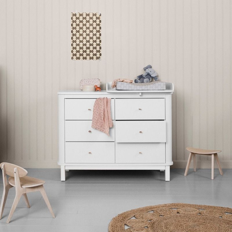 Oliver Furniture <br/> Wickelkommode 6 Schubladen mit Wickelplatte klein Wood <br/> Weiss,Wickelkommoden, Oliver Furniture - SNOWFLAKE kindermöbel concept store