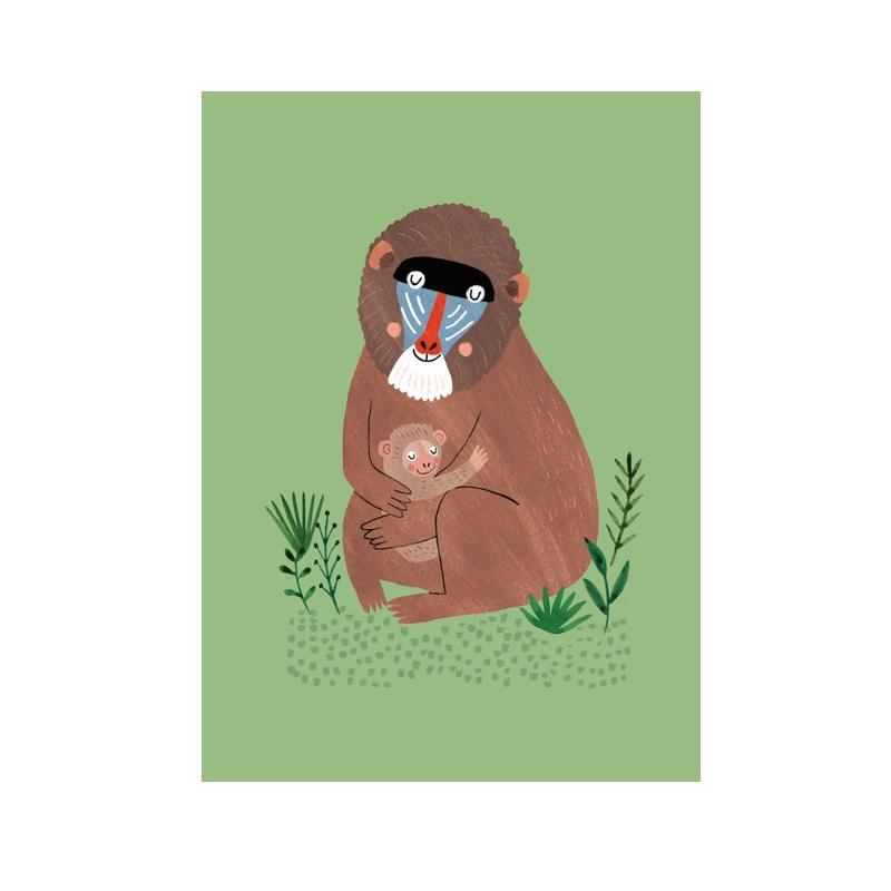 Petit Monkey <br/> Postkarte <br/> Mandril and Cub