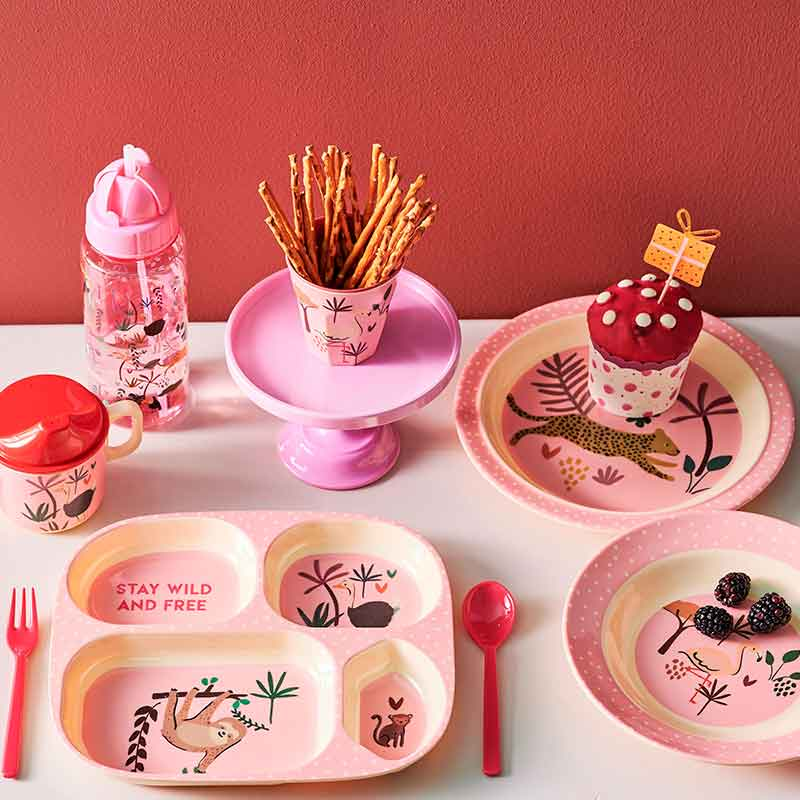 "Rice <br/> Melamin Kinderteller tief ""Jungle Animals"" <br/> Pink"