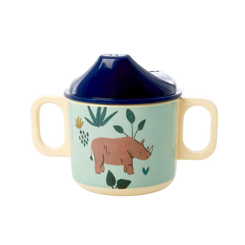 "Rice <br/> Melamin Kinder Tasse mit Trinkaufsatz ""Jungle Animals"" <br/> Blau"