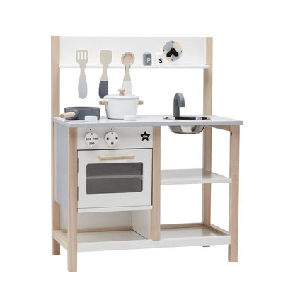 Kids Concept Wooden play kitchen including accessories Natural / white, play kitchens, Kids Concept - SNOWFLAKE children's furniture concept store