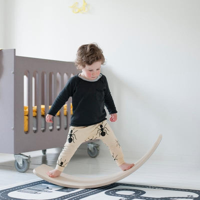 Wobbel Original balance board transparent lacquered with felt Sky, wooden toys, Wobbel - SNOWFLAKE children's furniture concept store