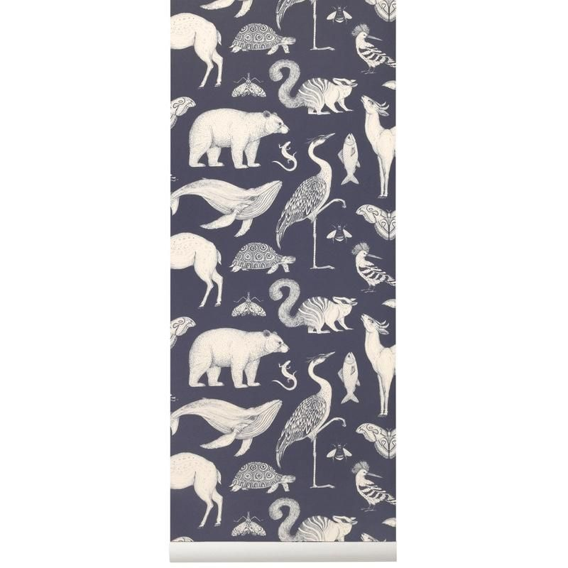 Ferm Living <br/> Katie Scott Tapete Animals <br/> Dark Blue