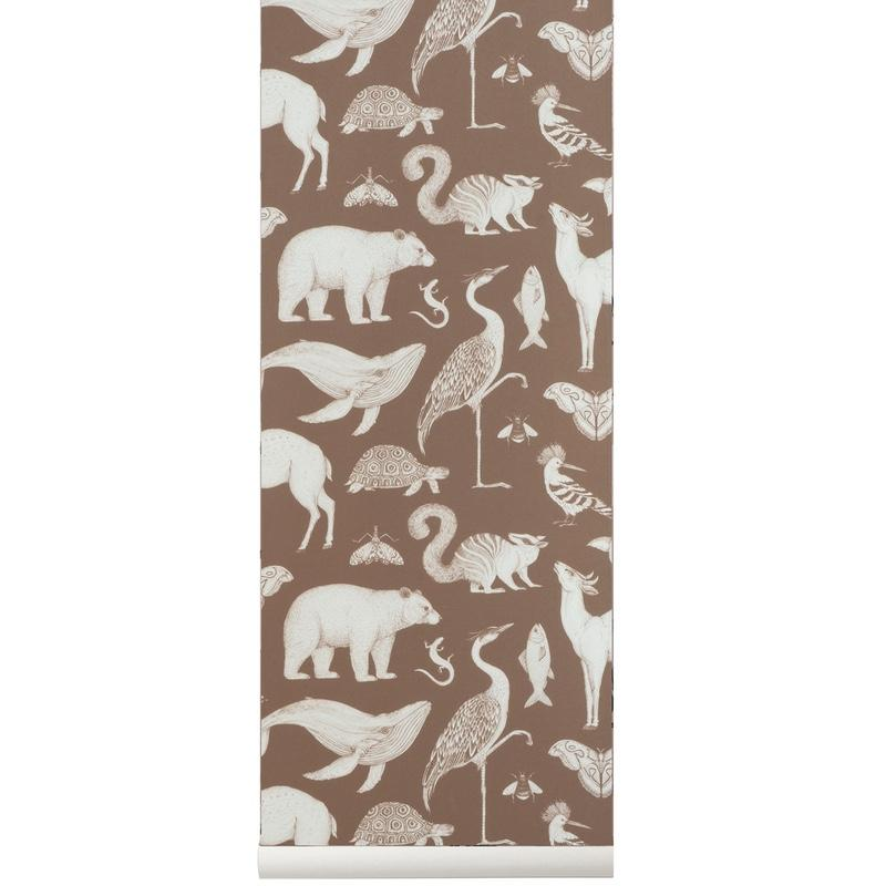 Ferm Living <br/> Katie Scott Tapete Animals <br/> Toffee Brown