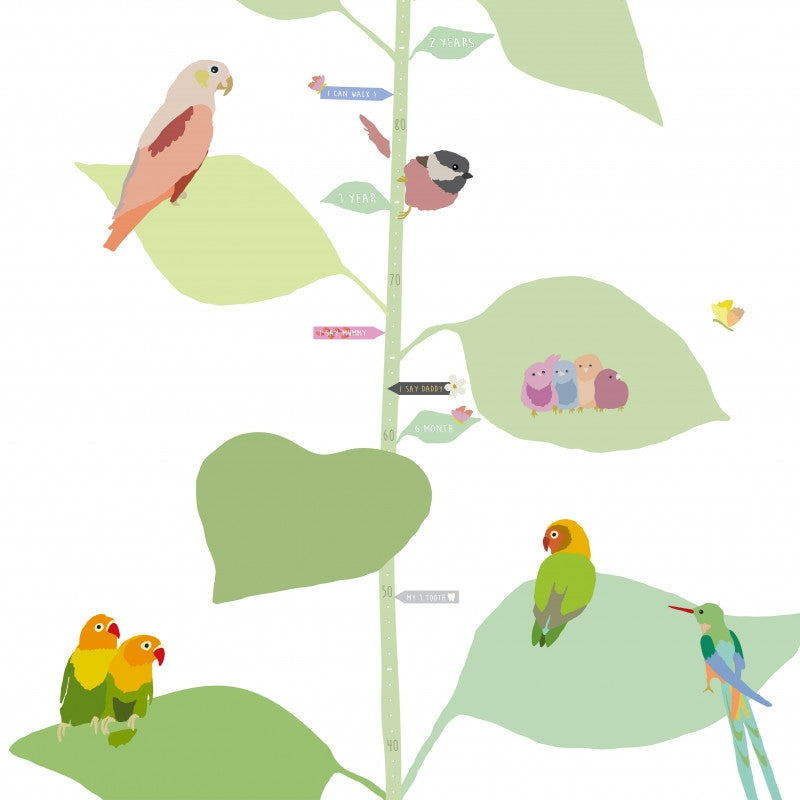 "MIMI`lou <br/> Wandsticker Messlatte ""WITH THE BIRDS"" englisch <br/> Bunt"