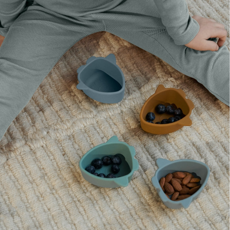 """Liewood Silicone bowls """"Iggy"""" set of 4 Space Blue Multi Mix"""