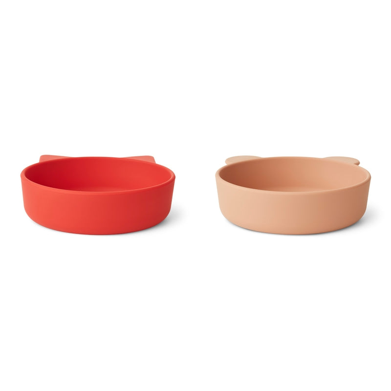 """Liewood Silicone bowls """"Vanessa"""" set of 2 Apple Red / Tuscany Rose Mix"""