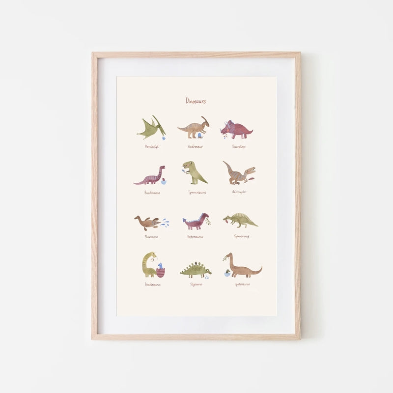 Mushie Affiche A3 Dinosaures