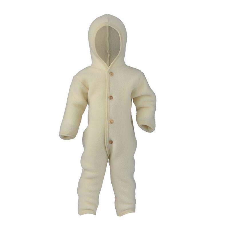 Engel <br/> Baby Wollfleece Overall mit Kapuze <br/> Natur