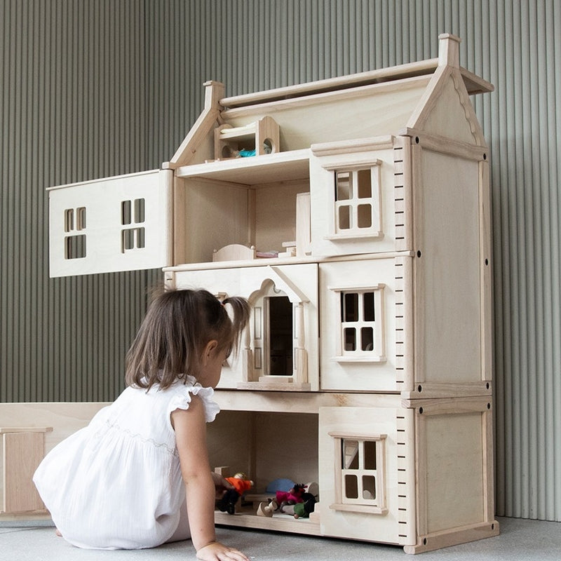 PlanToys First floor Victorian dollhouse made of wood nature