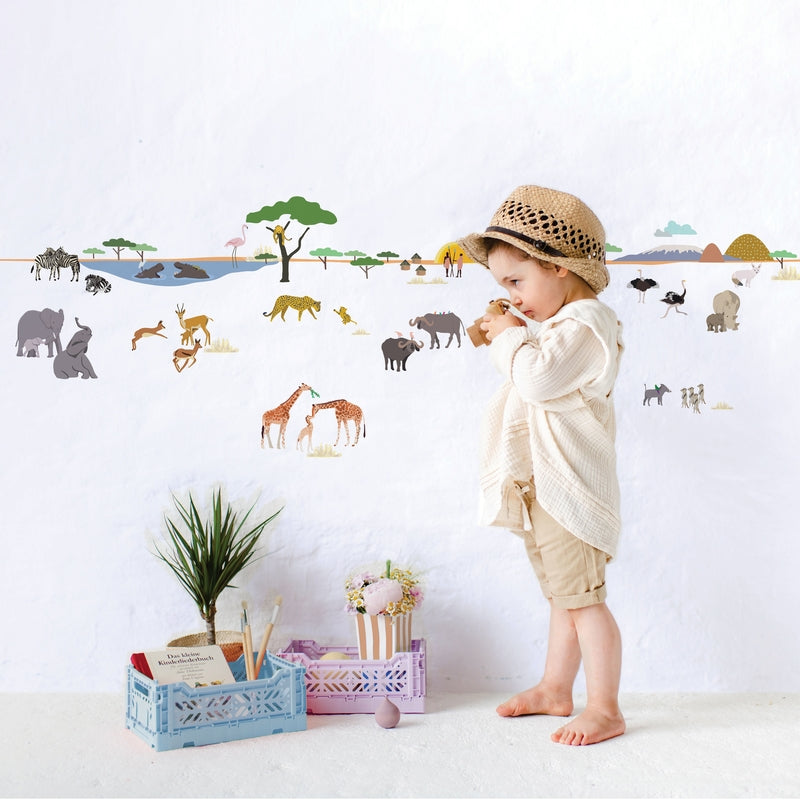 "MIMI`lou <br/> Wandsticker Bordüre ""SAFARI"" <br/> Tiere der Savanne"