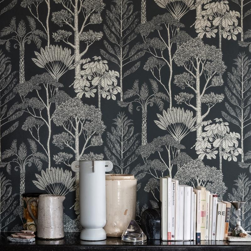 Ferm Living <br/> Katie Scott Tapete Trees <br/> Deep Petrol