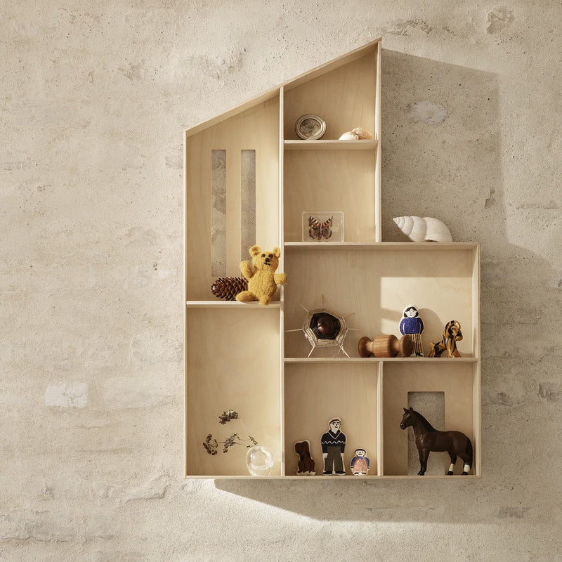 Ferm Living <br/> Miniature Funkis Puppenhaus Wandregal <br/> Nature