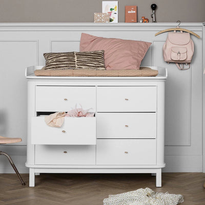 Oliver Furniture Wood changing table 6 drawers with large changing table White