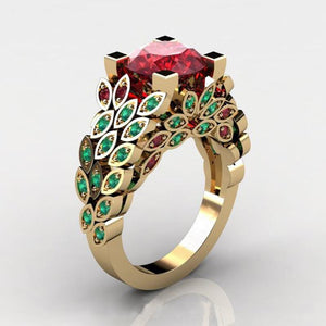 Green and Red Flower Wedding Ring
