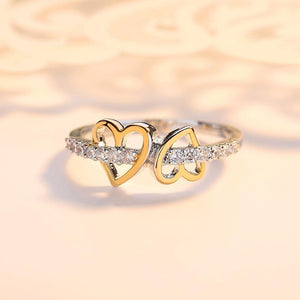 Openwork Double Heart Lady Ring