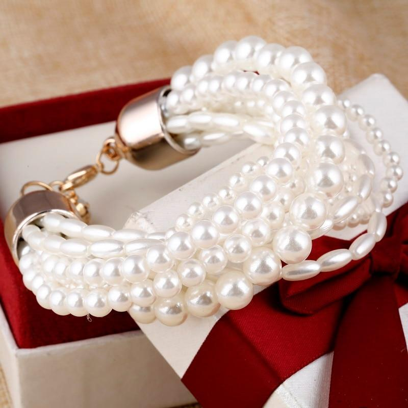 Simulated Pearl Multilayer Charm Bracelet