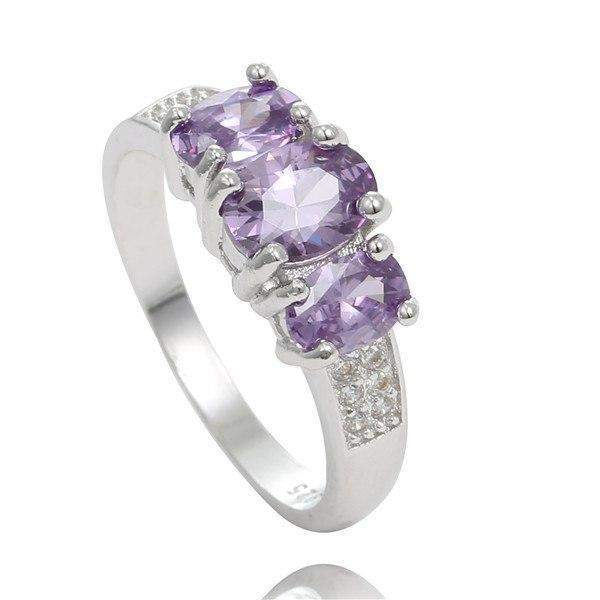 Free Jewelry - Trendy Triple Violet Cubic Ring - Clever Clad