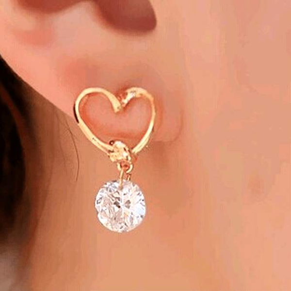Free Jewelry - Korean Version Heart Drop Earrings - Clever Clad