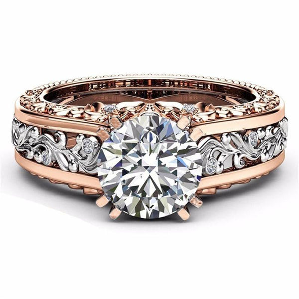 2018 Luxury Leaf Crystals Wedding Ring