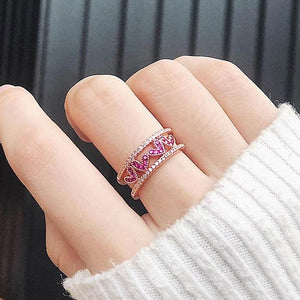 Micro Double Heart Open Ring