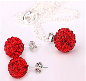 Colour Women Jewelry White Ball Earrings Pendant Necklace Jewelry Set