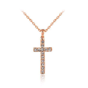Free Jewelry - Water Drop Zircon Cross Necklace - Clever Clad