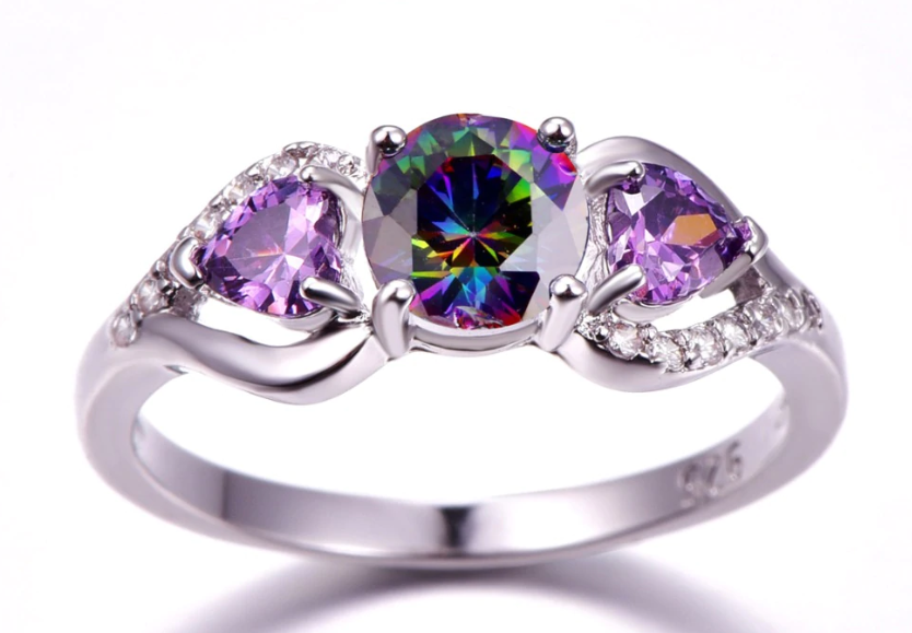 Top Rated Mystic Multi-color Zircon Engagement Ring
