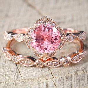 Pink Cubic Zirconia Double Wedding Ring
