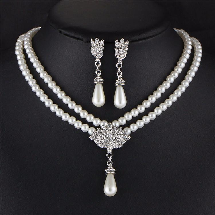 Charming Bride Simulated Pearl Jewelry Set