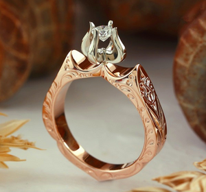 Golden Rose Engagement Ring Band