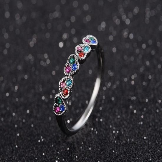 2018 Vintage Five Colorful Hearts Engagement Ring