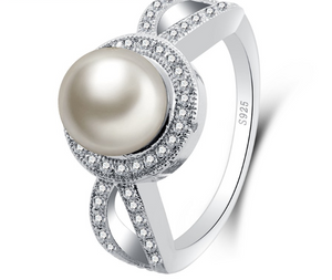 Fine Genuine Pearl With Cubic Zirconia Crystals Bridal Ring