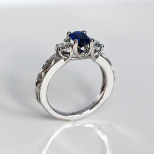 Oval Blue Stone Wedding Ring