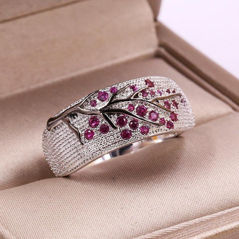 Shiny Crystal Leaves Ring