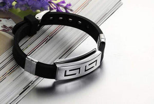 Wristband Black Punk Rubber Silicone Stainless Steel Men Bracelets