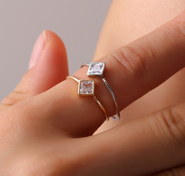 Simple Cubic Zircon Thin Engagement Ring