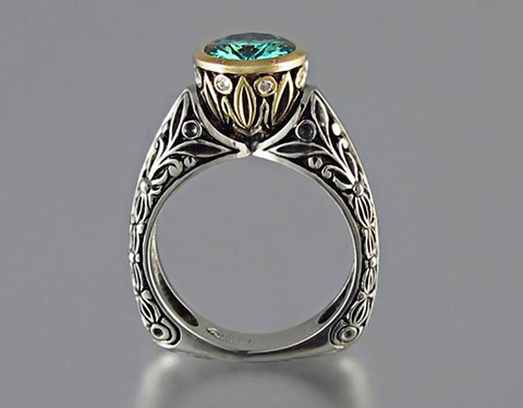 Top Rated Vintage Green Crystal Cubic Wedding Ring