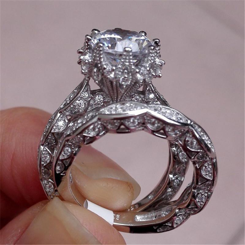 Top Rated Luxury Cubic Zirconia Double Engagement Ring